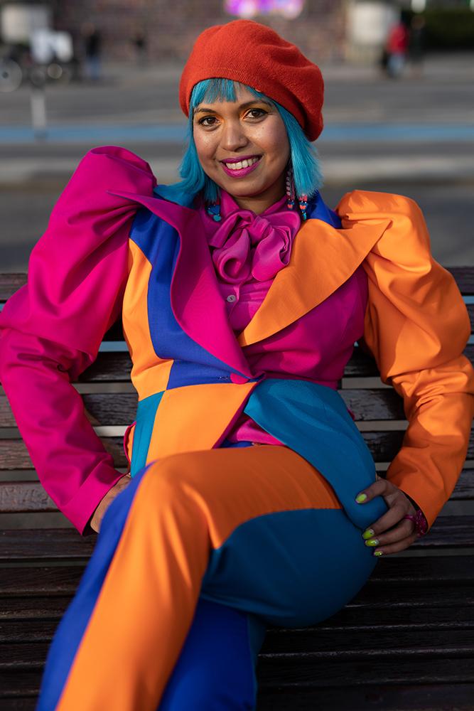 Close up of patchwork positivity suit